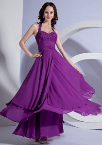 Ankle-length Purple Halter Homecoming Dresses for Prom with Ruchings