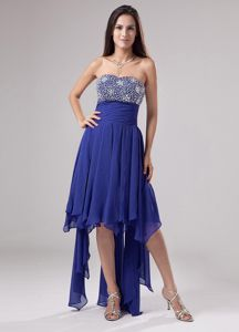 Ruched Blue Tight Homecoming Dress Beaded with Handkerchief Ruffles