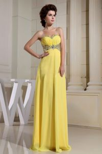 Yellow Sweetheart Homecoming Cocktail Dress with Beadings in Thanet
