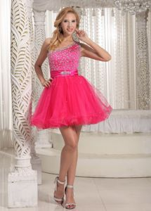 One Shoulder Hot Pink Homecoming Dresses for Juniors Beaded on Sale