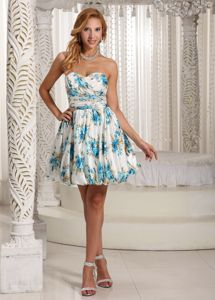 Colorful Printing Sweetheart Party Homecoming Dresses in Gunnislake