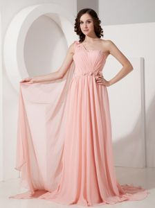 Appliques One Shoulder Watteau Train Homecoming Dresses in Baby Pink