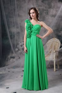 Green One Shoulder Chiffon Homecoming Dresses with Hand Made Flowers