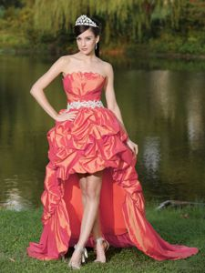 Taffeta High-Low Tight Homecoming Dresses with Pick-ups in Coral Red