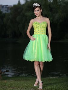 Beaded Green Sweetheart Knee-length Party Dress for Homecoming 2014