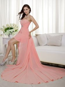 Sweetheart Peach High-low Junior Homecoming Dresses Beaded for Cheap