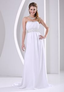 White Beaded Chiffon Plus Size Homecoming Dresses with Sweep Train