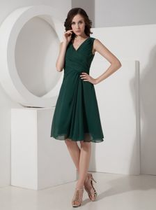 Mini-length Olive V-neck Chiffon Homecoming Cocktail Dresses on Sale