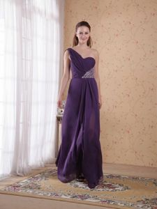 Purple One Shoulder Homecoming Dress for Juniors Beaded in Shefford