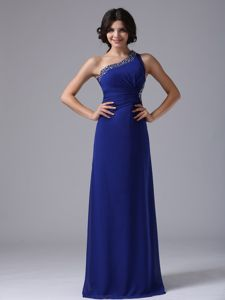 Beaded Peacock Blue Plus Size Homecoming Dresses with One Shoulder