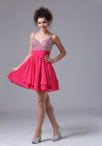 Beaded Straps Pink Mini-length Homecoming Court Dresses in Wisbech