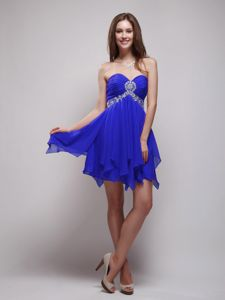 Sweetheart Royal Blue Mini-length Beaded Homecoming Princess Dresses