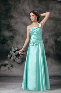 One Shoulder Beaded Apple Green Homecoming Dresses Ruched for Cheap