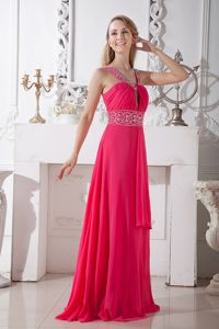 Brush Train Coral Red V-neck Chiffon Tight Homecoming Dress on Sale