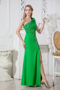 One Shoulder Green Hand Made Flowers Slit Party Dress for Homecoming
