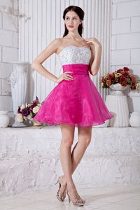 Hot Pink Mini-length Sweetheart Junior Homecoming Dress Beaded 2014