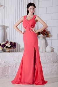 Watermelon Straps Brush Train Party Dress for Homecoming with Split
