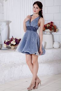 Blue and White Beads V-neck Short Organza Plus Size Homecoming Dress