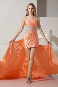 Detachable High-low Orange Straps Junior Homecoming Dresses Beaded