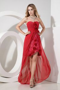Lace Red Hand Made Flowers High-low Homecoming Dresses in Wokingham