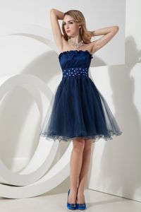 Short Navy Blue Beaded Organza Celebrity Homecoming Dress in Reading