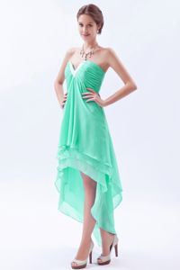Bristol High-low Apple Green V-neck Homecoming Cocktail Dress Beaded