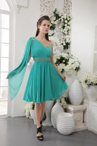 One Shoulder Turquoise Short Chiffon Homecoming Dresses with Beading