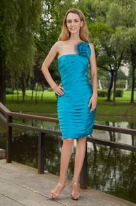 Turquoise One Shoulder Short Hand Made Flower Homecoming Queen Dress