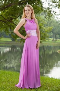 Lavender Ruched Bateau Chiffon Celebrity Homecoming Dress in Compton
