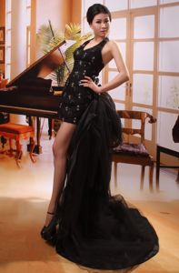 Black High-low Halter Watteau Train Appliques Homecoming Dress 2013