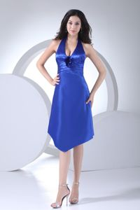 Knee-length Satin Blue Halter Homecoming Queen Dresses in Pulloxhill