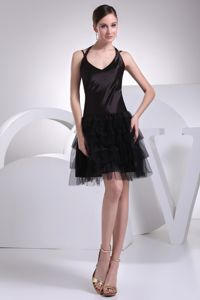 Mini-length Satin Tulle Black Straps Party Gown for Homecoming in UK
