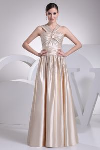 Beaded V-neck New Champagne Homecoming Cocktail Dresses with Ruching
