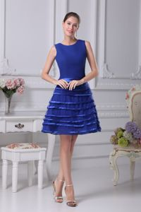 Scoop Layered Blue Mini-length Homecoming Dress Sashed in Bath Avon