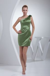 One Shoulder Olive Green Mini Homecoming Dress in Reichelsheim Germany