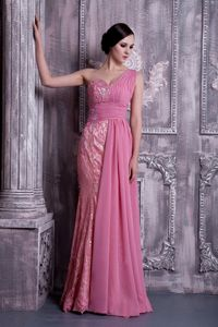 Konstanz Germany Rose Pink Column One Shoulder Beading Homecoming Dress