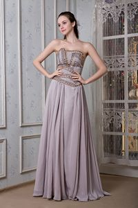 Magdeburg Germany Grey Empire Strapless Beaded Chiffon Homecoming Dress