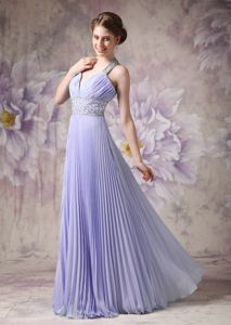 Lilac A-line Halter Homecoming Dress with Beading and Pleating in Germany