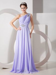 Lilac One Shoulder Beading and Ruches Homecoming Dress in Hofheim Germany