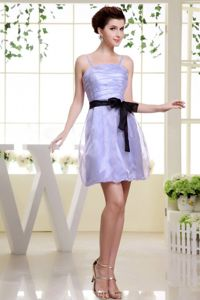 Lilac Ruches Straps Short Homecoming Dress with Black Sash in Herrenberg