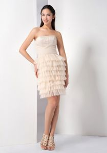 Hemer Germany Champagne Layers Strapless Mini-length Homecoming Dress