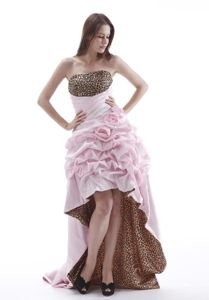 Strapless High-low Flowers Pick-ups Baby Pink Leopard Homecoming Dress