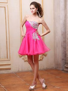 Strapless Hot Pink Appliques and Ruches Mini-length Homecoming Dresses