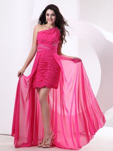 Ruches and Beading High-low Hot Pink Homecoming Dress in Hanau Germany
