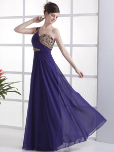 One Shoulder Beading and Ruches Purple Homecoming Dress in Hameln Germany