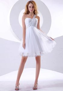 White Beading One Shoulder Knee-length Homecoming Dress in Hagen Germany