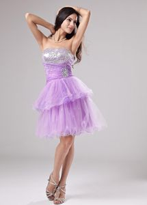 Garching Germany Lavender Strapless Beading and Ruches Homecoming Dress