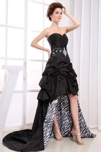 Sweetheart High-low Beaded Pick-ups Black Homecoming Dress in Freiberg