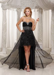 High-low Black Sweetheart Beaded Homecoming Dress in Fischerhude Germany