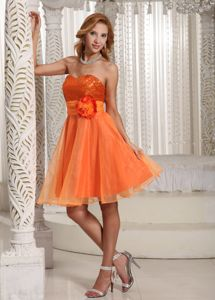 Filderstadt Germany Flower Belt Orange Sweetheart Sequin Homecoming Dress